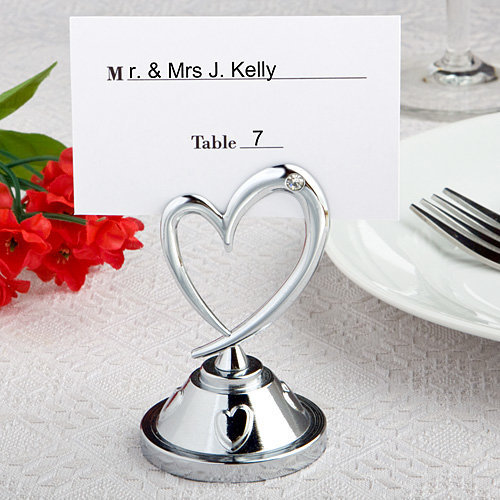Heart Themed Silver Place Card Holders