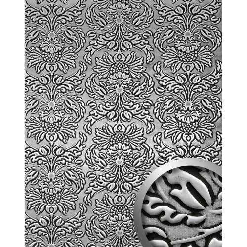 WallFace 14795 IMPERIAL Wall panel leather baroque damask black silver 2.60 sqm