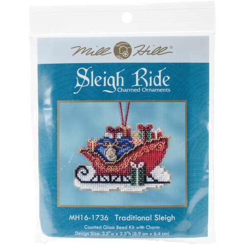 """Traditional Sleigh Counted Cross Stitch Kit-3.5""""X2.5"""" 14 Count"""
