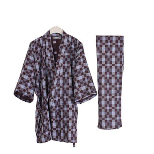 Suit Tracksuit Men's Kimono Loose Breathable Cotton Double Gauze Pajamas