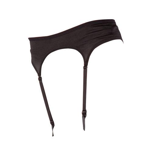 Silky 4-Strap Satin Suspender Belt Black Large