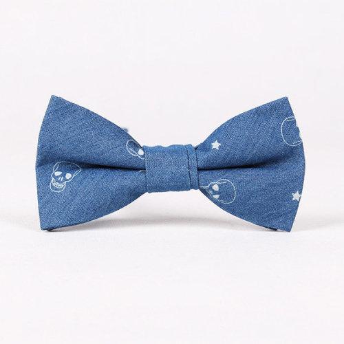 Men Retro Wind Denim Cotton Bowknot Tie Cool Business Party Cravat
