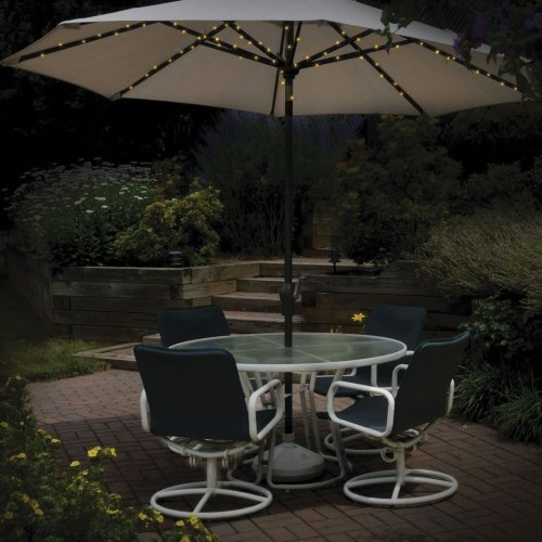 72 LED Solar Powered Parasol Umbrella Fairy String Lights Dual Function