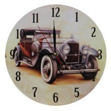 Home Decoration Nostalgic Retro Brown Car Scene 28cm MDF Wall Clock