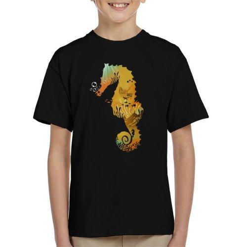 Seahorse Shipwreck Silhouette Kid's T-Shirt