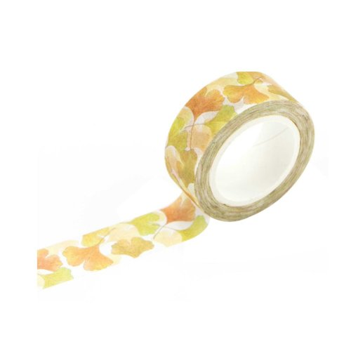 Ginkgo Leaf Pattern Washi Masking Tape, Christmas Gift or Birthday Present (Set of 6 Rolls)