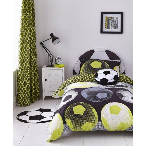 Catherine Lansfield Neon Football Easy Care Double Duvet Set Yellow