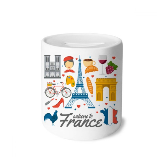 National Flag Architecture France Money Box Saving Banks Ceramic Coin Case Kids Adults