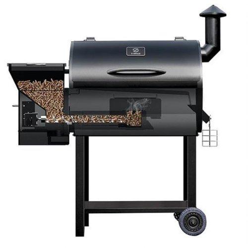 Z-Grills ZPG - 7002B 700 sq in. Grill Area Ultimate 7 in 1 Barbecue, 20 lbs Hopper - Black