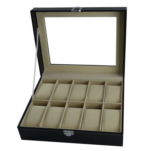 DoubleBlack Faux-Leather Watch Box for 10 Watches