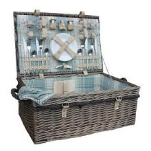 4 Person Deluxe Rope Handled Cream Tartan Fitted Picnic Basket