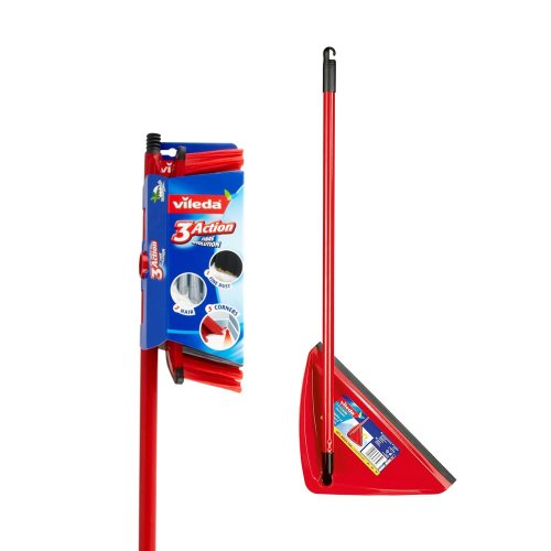 Vileda 3 Action Broom with Bristle Technology + Long Handled Dustpan