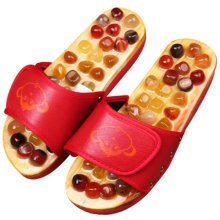 Healthy Antiskid Massage Agate Décor Wooden Slippers Shoes Flat Heels -Red