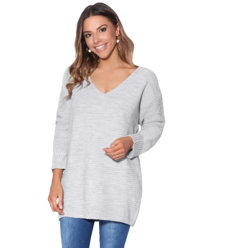 37874c2d31b Womens Chunky Knit Oversized Baggy Long V Neck Jumper Casual Sweater Dress  Top on OnBuy