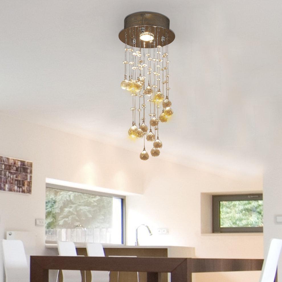 Homcom Metal Crystal Ceiling Light Chandelier Elegant Pendant Lamp Living Room Stairway Stairway Spiral Rain Drop Pendant Lamp Silver
