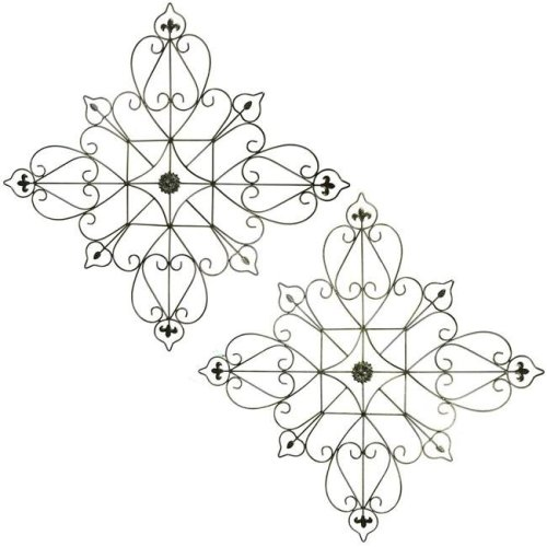 Benzara BM187868 Metal Wall Decor with Intricate Design & Fleur de lis accents - Assortment of Two - Gray - 30 x 1.25 x 30 in.