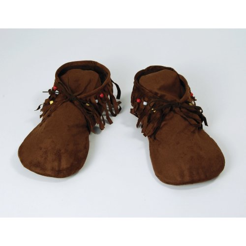 Brown Ladies Hippy Indian Moccasin Sandals -  moccasins fancy dress hippy indian ladies hippyindian 70s shoes hippie accessory FANCY DRESS HIPPY