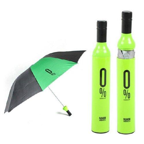 Unique Fashion Gift Winebottle Shape Umbrellas Folding Umbrella GREEN