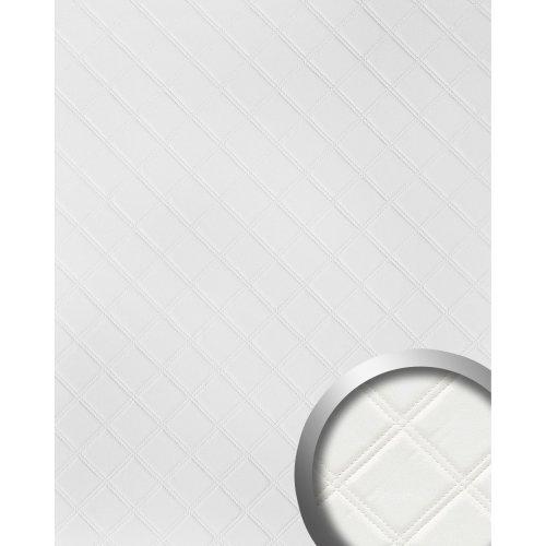 WallFace 15042 ROMBO Wall panel leather decor self-adhesive white | 2.60 sqm