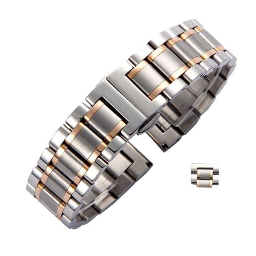 Men/Women Steel Wrist Replacement Straight Cut Butterfly Clasp Watch Band/Strap