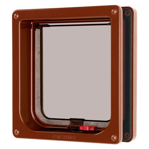 Lockable Cat Flap & Liner Brown 16.5x17.4cm