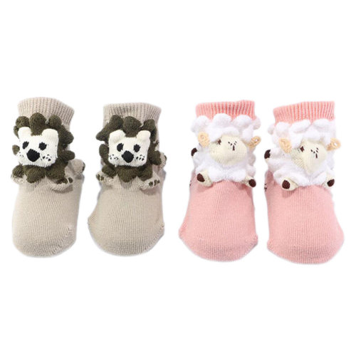 2 Pairs Non-slip Newborn Baby Toddler Socks Warm Stockings Baby Gift 9-11.5 CM For 0-1 Year Baby-Lion+Sheep