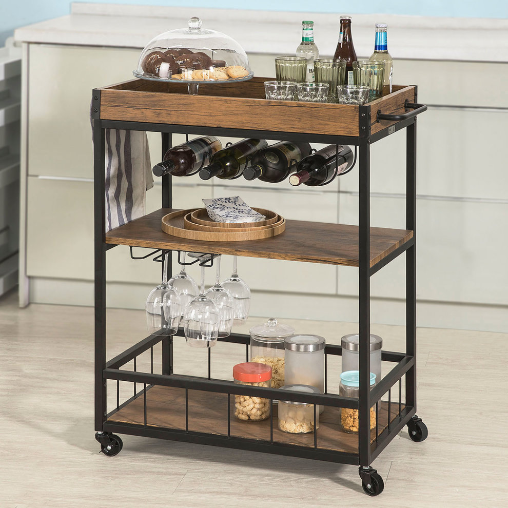 Industrial Kitchen Trolley: SoBuy® FKW56-N, Industrial Vintage Style 3 Tiers Kitchen