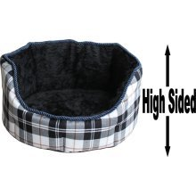 """Dog Bed Thick Black Chequered Material Fleece 30"""""""