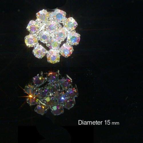10 x Small Round AB Rainbow Effect Diamante Embellishment Rhinestone Crystal Weddings Craft (EM1)