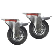 "6"" (150mm) Rubber Swivel With Brake Castor Wheels Trolley Caster (2 Pack) CST011"