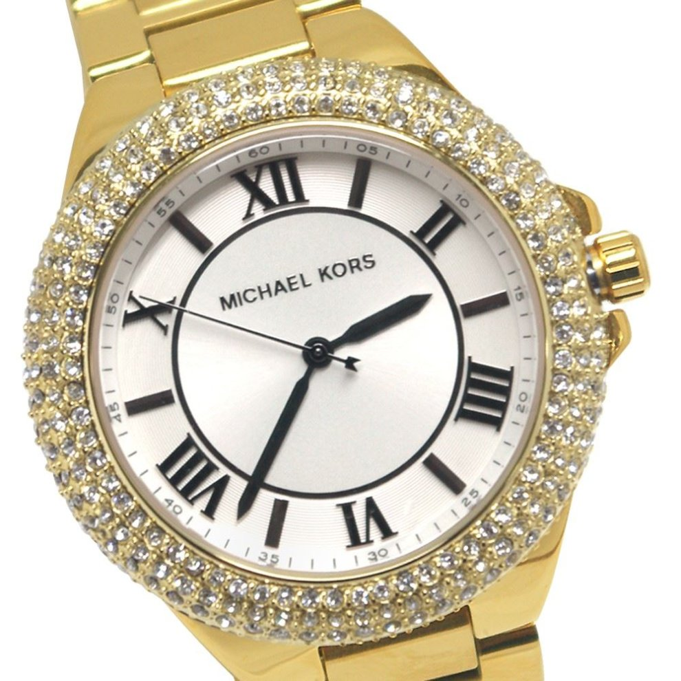 Michael Kors Ladies Designer Watch Encrusted Stones Gold Tone - MK3277