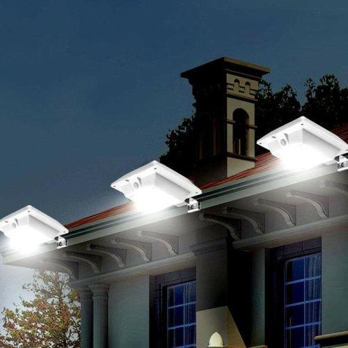6LED Sensor Light Solar Power Outdoor Garden Patio Gutter Wall Lamp White Light