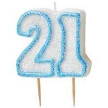 Age 21 Birthday Candle Blue Glitz