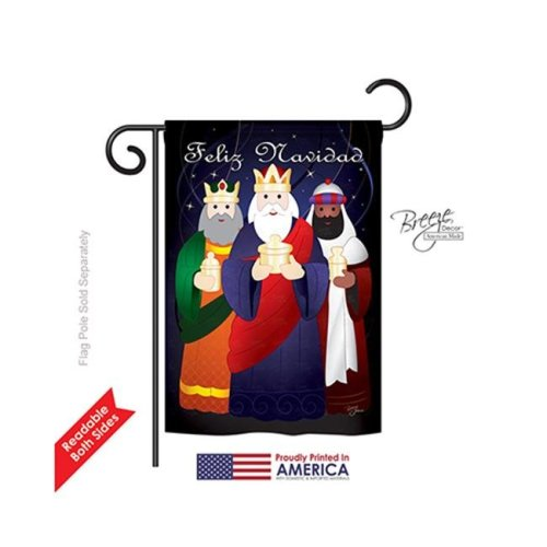Breeze Decor 64081 Nativity Feliz Navidad 2-Sided Impression Garden Flag - 13 x 18.5 in.