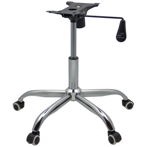 Chrome Office Chair Refurbishment Refurb Kit Base Castor Wheels Gas Lift Lever Mechanism 21cm