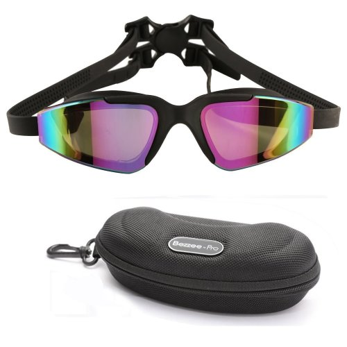 Swim Goggles by Bezzee-Pro UV Protected, Color Tinted Lens, No Fog, No  Leak, Quality Silicone Double band Strap with lock buckle, Black