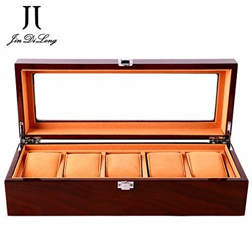 Watch Box Wooden 5 Slots Watch Case Jewelry Display Storage Boxes with Glass Top and Removal Storage Pillows Gift box for Men Women Birthday...