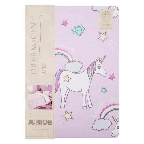 Dreamscene Junior Unicorn Bedding | Kids' Pink Unicorn Single Duvet Cover Set