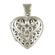 Mens Sterling Silver Filigree Heart Locket On A Black Leather Cord Necklace