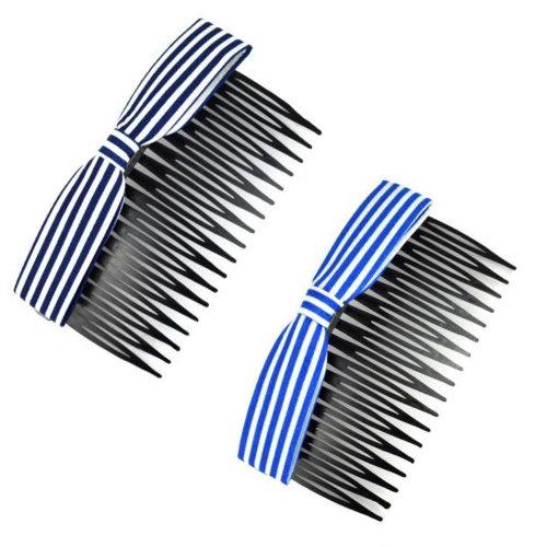 Set Of 2 Lovely Bowknot Fabric Ribbon Elegant Women Hair Clip Comb Hair Fork D