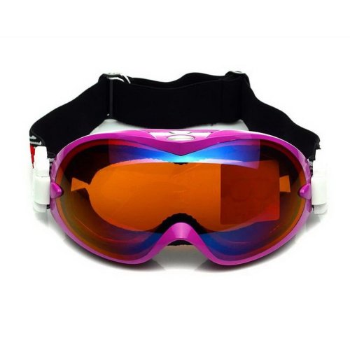 Women Pro Ski Goggles Fuchsia Coated Tea Lens Goggles, Dual-layers