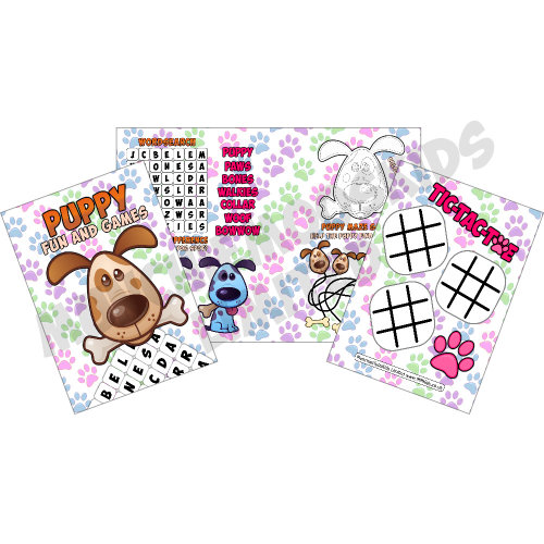 12 x Puppy Paw Print Fun & Games Activity Sheets Party Bag Fillers