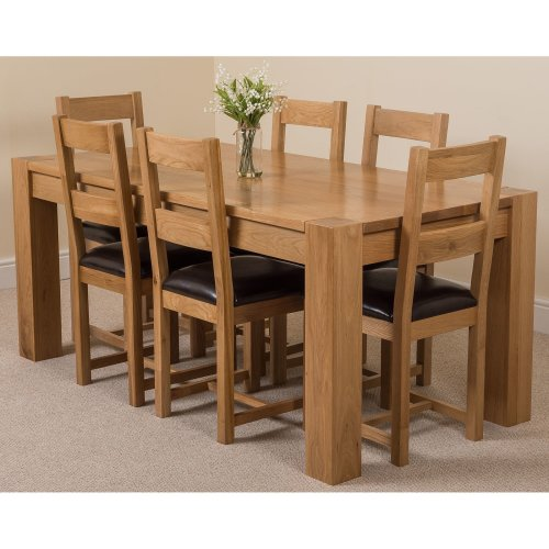 Kuba Chunky Solid Oak 180 cm Dining Table with Lincoln Dining Chairs