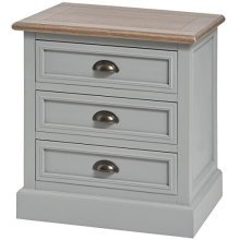 Churchill Collection Three Drawer Bedside - Store Small Items Inside -  churchill collection three drawer bedside store small items inside
