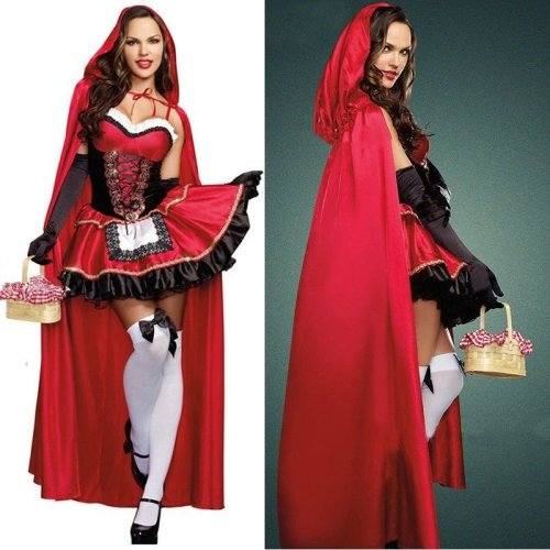 Ladies Little Red Riding Hood Fairytale Halloween Dress Costume Cloak
