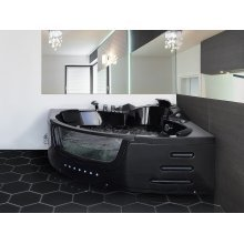 Whirlpool Black Corner Bath with LED MARTINICA