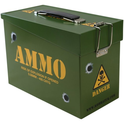 Kombat UK Kids' Army Ammo Tin Toy Storage Lunch Box, Olive Green