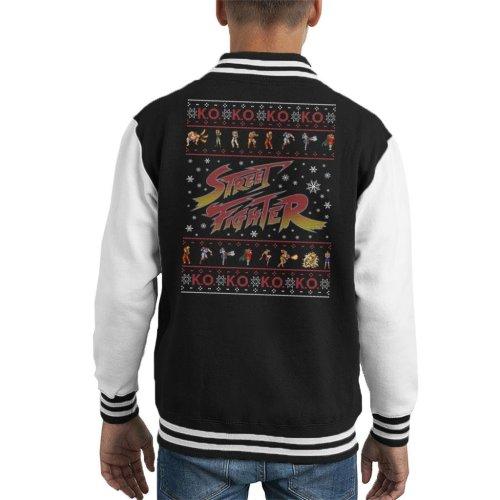 Street Fighter Logo Christmas Contestants KO Kid's Varsity Jacket