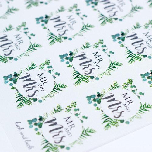 35pk Luck & Luck Mr & Mrs Sticker Sheet - Botanical Wreath