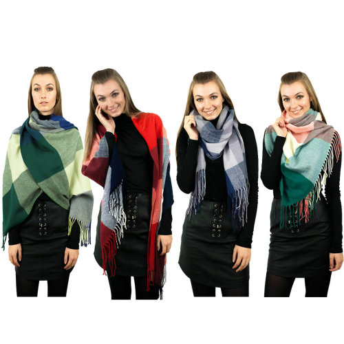 Miss Lulu Women Checked Plaid Scarf Winter Warm Wrap Shawl